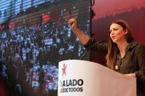 Marisa Matias em mega-almoço em Lisboa, Europeias 2019. Foto de Paula Nunes.