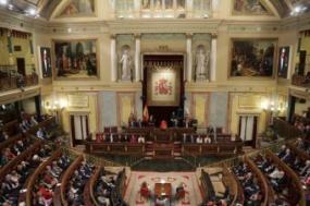 Sala das Cortes Gerais, o parlamento espanhol. Foto de Tiago Petinga/Lusa.