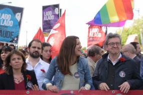 Catarina Martins, José Gusmão, Marisa Matias e Jean-Luc Mélenchon na manifestação do 25 de Abril, 2019. Foto de Paula Nunes.