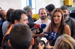 Marisa em visita às Oficinas da EMEF em Contumil. Foto de Paula Nunes.