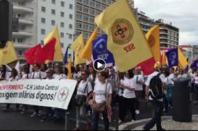 """Centenas de enfermeiros manifestaram-se em Lisboa por """"salários dignos"""""""
