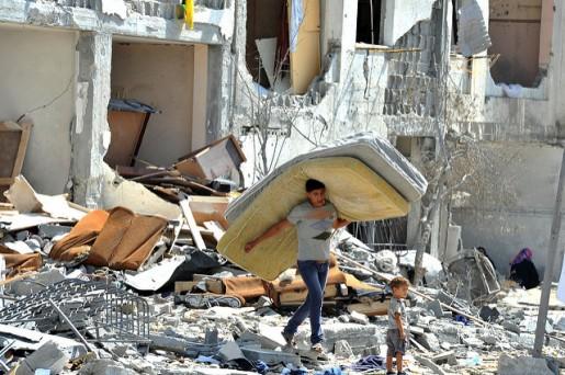 O quotidiano nos territórios ocupados é marcado pela destruição, violência e morte. Foto de Shareef Sarhan/Nações Unidas/Flickr