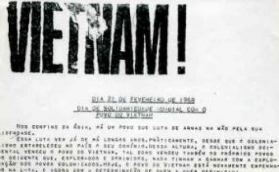 Imagem do comunicado de convocação da Manifestação de 21 de fevereiro de 1968 contra a guerra do Vietname, disponível no site Ephemera, biblioteca e arquivo de José Pacheco Pereira