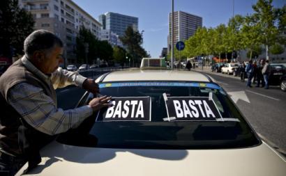 Taxista em protesto.