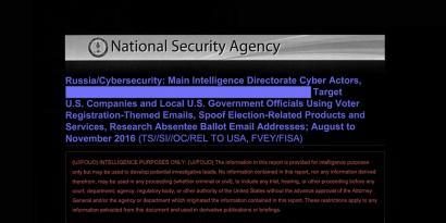 Cabeçalho do relatório da NSA obtido por The Intercept