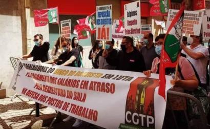 Trabalhadores do Bingo Boavista em luta em Lisboa. Foto Sindicato Hotelaria do Norte.