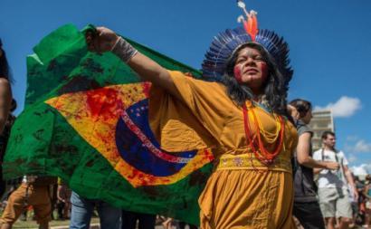Sônia Bone Guajajara, Coordenadora Execuva da Articulação dos Povos Indígenas do Brasil (APIB), durante o Acampamento Terra Livre 2019. Foto: APIB