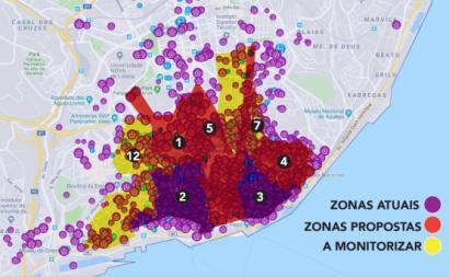 Mapas de zonas a interditar a novo alojamento local na proposta do Bloco.