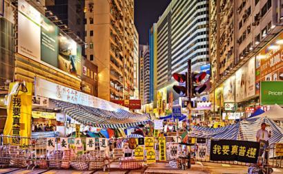 Ocupação em Causeway Bay, outubro de 2014, Hong Kong. Foto de johnlsl/Flickr.