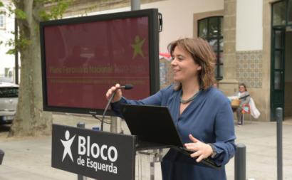 Catarina Martins na apresentação do plano ferroviário do Bloco, Peso da Régua. Foto de Paula Nunes.