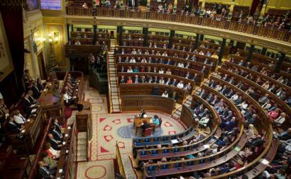 Sessão no Congresso dos Deputados, câmara baixa do parlamento espanhol. Foto Wikimedia Commons.