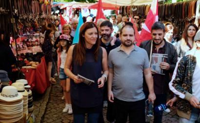 Marisa Matias, José Gusmão e Sérgio Aires na feira de Amarante.