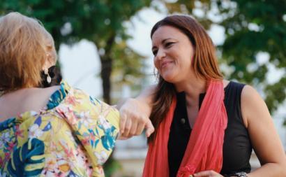 Marisa Matias na sessão de apresentação da sua candidatura, a 9 de setembro, no Largo do Carmo, em Lisboa.