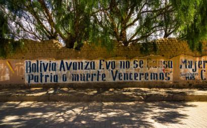 Mural de apoio ao MAS e a Evo Morales. Janeiro de 2015.