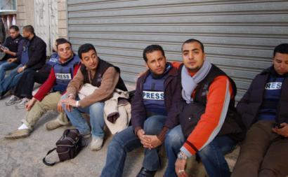 Jornalistas na Faixa de Gaza.