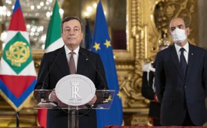Mario Draghi num encontro com o presidente do país. Foto do Palácio do Quirinal/Presidência Italiana.