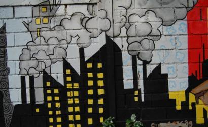 Mural sobre poluição na Indonésia. Foto de Ikhlasul Ama/Flickr.