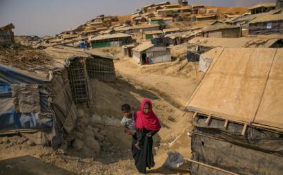 Mulher Rohingya num campo de refugiados no Bangladeche. Março de 2018.