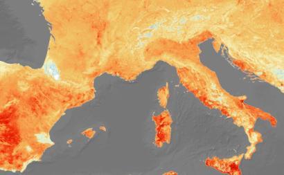 Mapa de temperaturas na Europa a 26 de junho. Imagem Copernicus Sentinel/ESA/Flickr.
