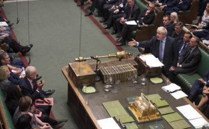 Jeremy Corbyn e Boris Johson frente-a-frente no debate parlamentar de quarta-feira, 4 de setembro de 2019. Foto: Jess Taylor/UK Parliament/Flickr.