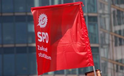 Bandeira do SPD alemão. Foto de SPD-Bundestagsfraktion/Flickr.