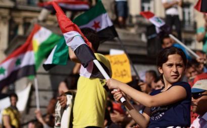 Protesto pela Síria em Bruxelas. Foto de Gwenael Piaser/Flickr.