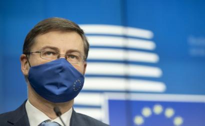 Comissário europeu Valdis Dombrovskis, após reunião do ECOFIN. Foto: European Council