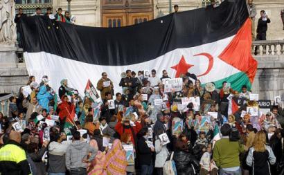 Manifestação a favor do povo saharaui em Bilbo em 2009.
