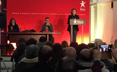 Catarina Martins em Braga, durante uma sessão com militantes sobre o Orçamento do Estado para 2020. Foto esquerda.net.
