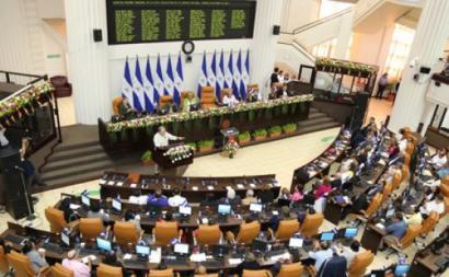 """A Assembleia Nacional da Nicarágua aprovou a lei sobre a """"regulamentação dos agentes estrangeiros"""" com os votos da bancada maioritária da FSLN – Foto de https://www.asamblea.gob.ni/"""