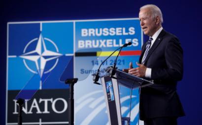 Joe Biden na condeferência de imprensa da Cimeira da NATO em Bruxelas, 14 de junho de 2021 – Foto de Olivier Hoslet/Epa/Lusa
