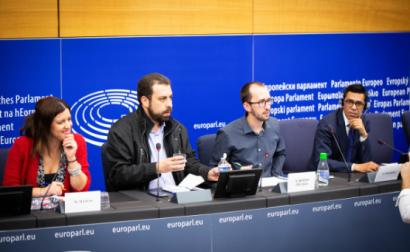 Marisa Matias, Guilherme Boulos, Xabier Benito do Podemos e Younous Omarjee da France Insoumise