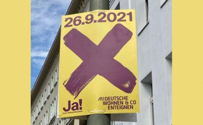 Cartaz da campanha pelo Sim à expropriação no referendo de 26 de setembro.