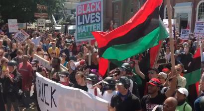 Contramanifestação da organização Black Lives Matter. Foto do Twitter Black Lives Matter.