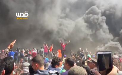 A violência prossegue na Faixa de Gaza e contam-se já cerca de 1500 feridos. Palestina pede reação da ONU. Fotografia: vídeo da QudsN.