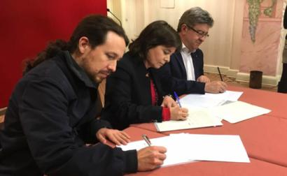 Pablo Iglesias, Catarina Martins e Jean-Luc Mélenchon.