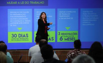 Catarina Martins na sessão realizada em Aveiro - Foto de Paulo Novais/Lusa