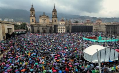 Greve Geral na Colômbia, Praça Bolívar em Bogotá, 21 de novembro de 2019 – Foto de Diego Bauman/Epa/Lusa