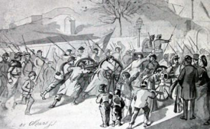 Ilustração sobre a resistência à apropriação dos canhões de Montmartre por Thiers, o momento que despoletou a revolta que originou a Comuna. Foto de Wikimedia Commons.