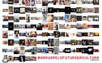Milhares de publicações de participação no protesto online #NaRuaPeloFuturoDaCultura. Imagem via facebook da associação Plateia.