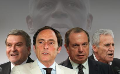 Miguel Relvas, Paulo Portas, Carlos César e Jerónimo de Sousa. Em fundo: José Eduardo dos Santos