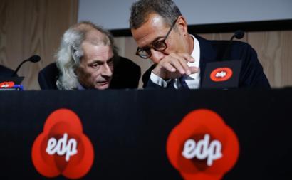 João Manso Neto, atual presidente da EDP Renováveis, com António Mexia, chairman da EDP. Foto de Tiago Petinga, Lusa.