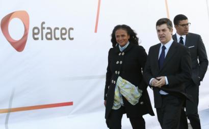Isabel dos Santos e Manuel Caldeira Cabral, à época ministro da Economia, na inauguração da Unidade Mobilidade Elétrica EFACEC, em 2018.