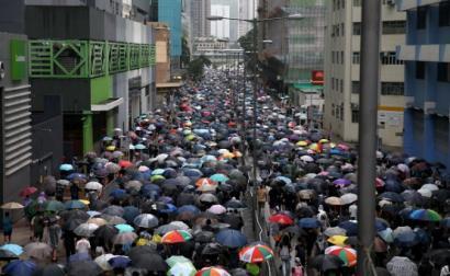 Protestos em Hong Kong. Foto de JEROME FAVRE, Epa/Lusa.