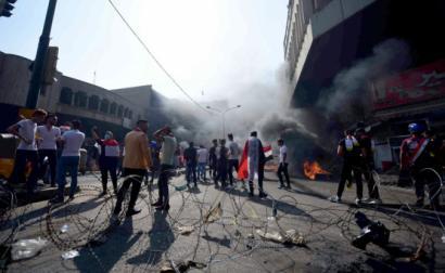 Protesto em Bagdad.