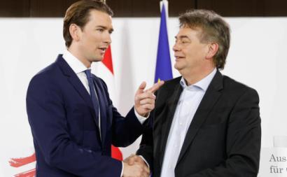 Os líderes dos Verdes e dos Conservadores da Áustria apresentam a coligação governamental. Janeiro de 2020.
