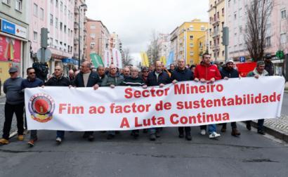 Protesto dos trabalhadores das minas e pedreiras em Lisboa.