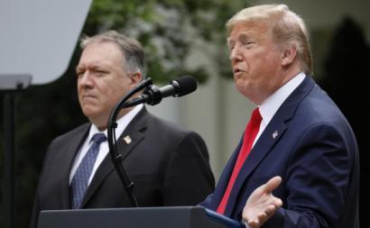 Trump e Pompeo em maio de 2020. Foto de YURI GRIPAS/EPA/Lusa.