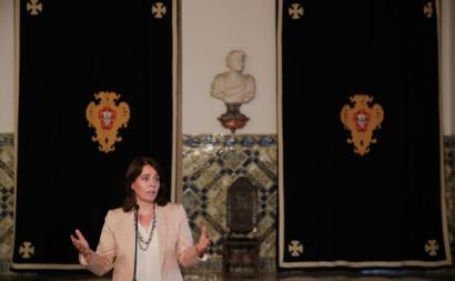 Catarina Martins à saíde da audiência com o Presidente da República.
