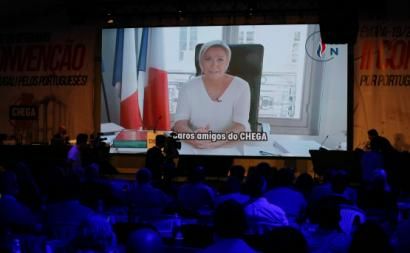 Marine Le Pen intervém por videoconferência na Convenção do Chega. Setembro de 2020. Foto de NUNO VEIGA/LUSA.